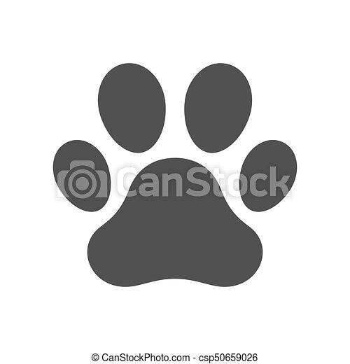 a7a34ff53848 Vector dog paw print. Vector illustration icon of a dog paw print.