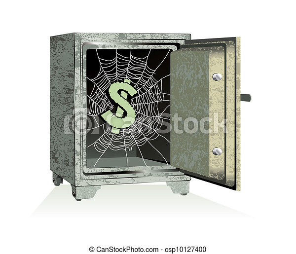 Vector. Dollar sign on spiderweb inside of an open safe - csp10127400