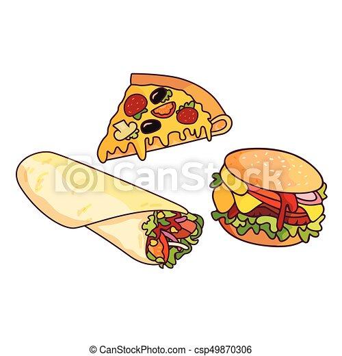 Vector Doner Kebab Burger Pizza Slice Set