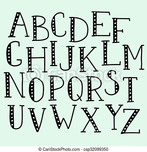 Vector Doodle Alphabet Simple Hand Drawn Letters Thin Serif Marker Font Decorative For Books Posters Postcard Web Style