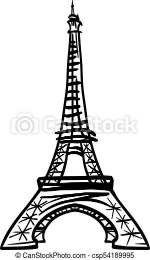 Vector Doodle Black Eifel Tower Hand Drawn Landmark Symbol Of Paris