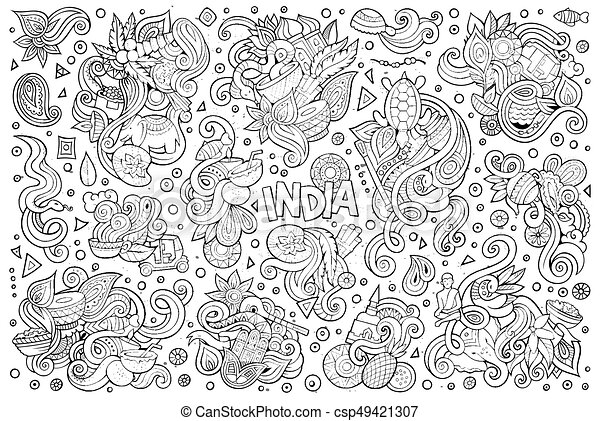Vector Doodle Cartoon Set Of Indian Designs Sketchy Vector Hand