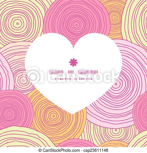 Vector doodle circle texture heart silhouette pattern frame - csp23611148