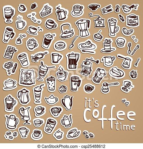 vector doodle coffee icons - csp25488612