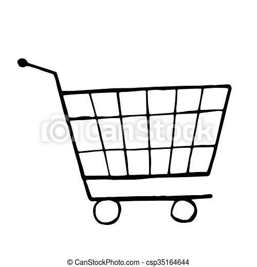 vector doodle drawing of shopping trolley isolated vector eps rh canstockphoto co uk baby trolley clipart trolley clipart black and white