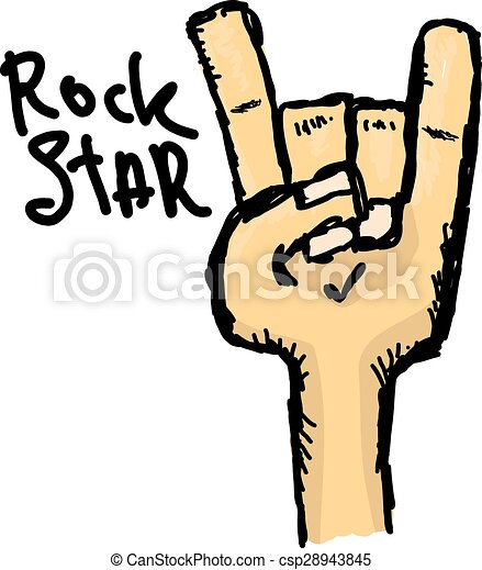 vector doodle hand sign rock n roll music on white rock n eps rh canstockphoto com rock and roll clipart black and white rock and roll clip art images