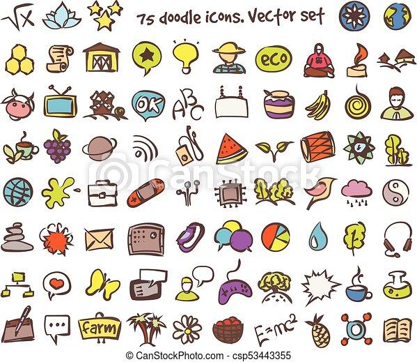 vector doodle icons set - csp53443355
