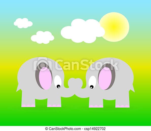 Dos elefantes vectores - csp14922702