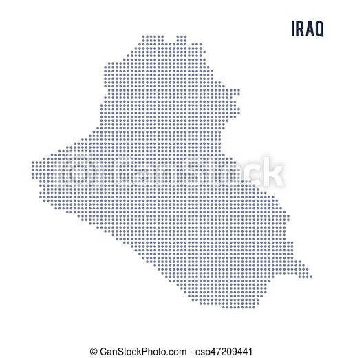 Vector dotted map of iraq isolated on white background eps