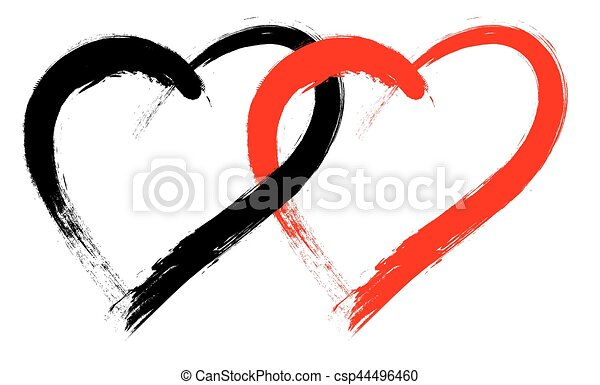 Line Art Of Heart : Vector double heart shape with brush painting isolated on clip