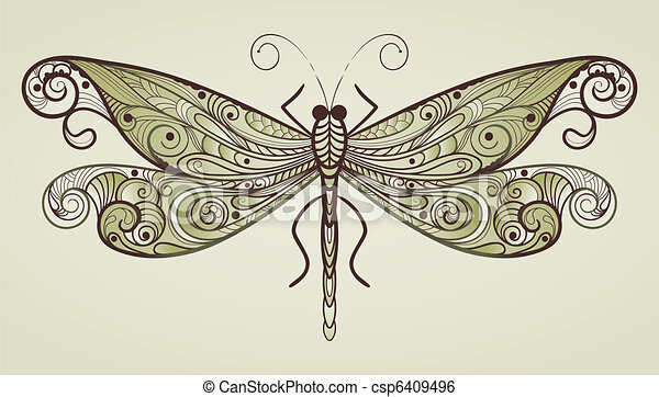 vector dragonfly with unique pattern - csp6409496