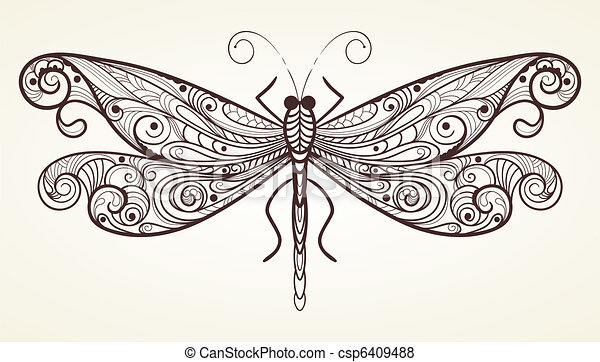 vector dragonfly with unique pattern - csp6409488