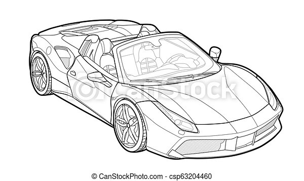 Vector draw of a flat sport car with black lines. - csp63204460