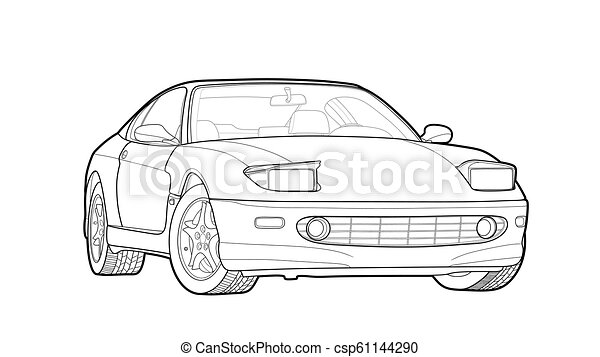 Vector draw of a flat sport car with black lines. - csp61144290