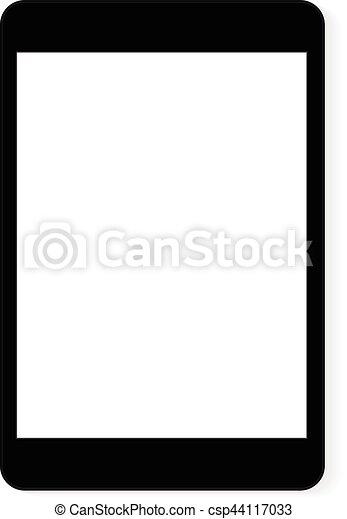 Vector drawing black digital tablet white blank screen.