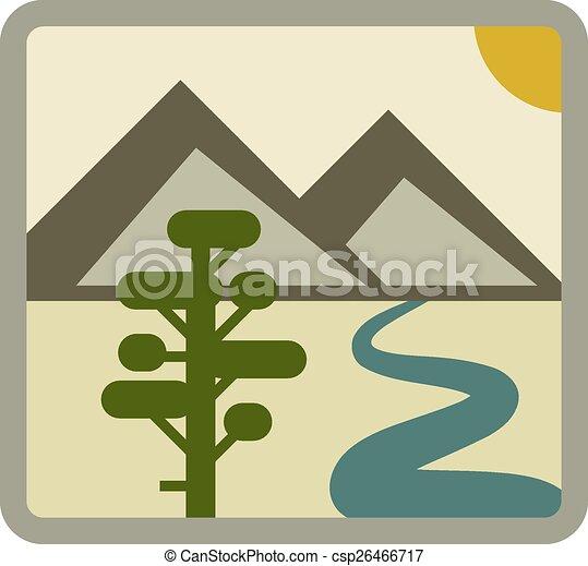 vector drawing landscape icon - csp26466717