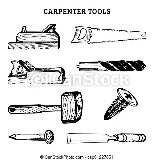 Vector Drawing Of Carpentry Tools Illustration Of Wood Works