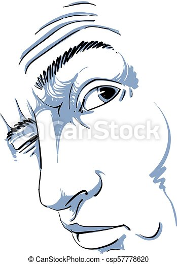 Vector Drawing Of Drunk Man Or Gambler With Wrinkles On His Forehead