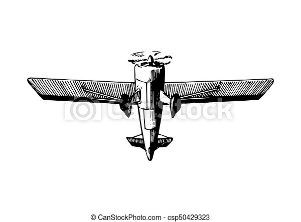 Vector Drawing Of Flying Aircraftvintage Retro Plane Vector