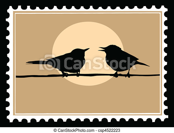 vector drawing two birds on branch - csp4522223