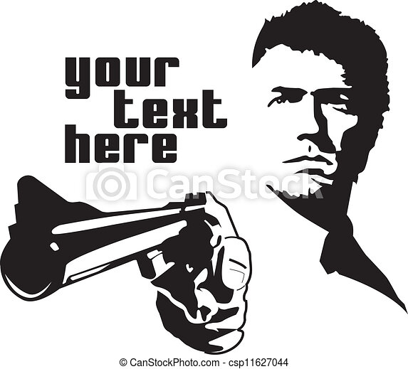 Vector drawn man calahan pointing a gun with text on side.