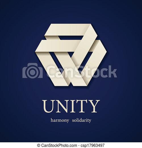 vector, driehoek, eenheid, papier, ontwerp, mal, pictogram - csp17963497