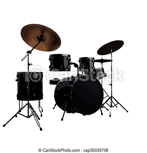 vector Drum kit. Isolated on white - csp35039708