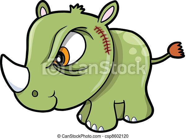 Difícil vector de safari de rinoceronte animal - csp8602120