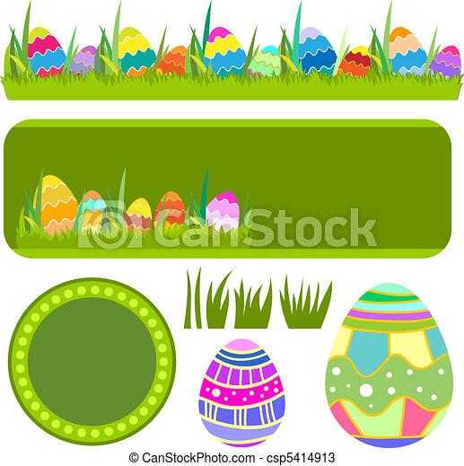 Vector Easter Banner Border Eggs