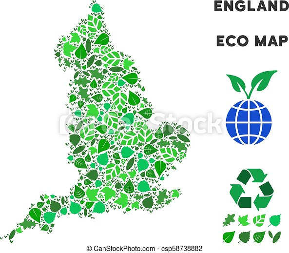 Map Of England 1100.Vector Eco Green Collage England Map