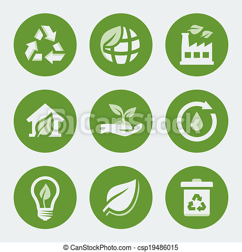 Vector ecology and recycling icons set - csp19486015