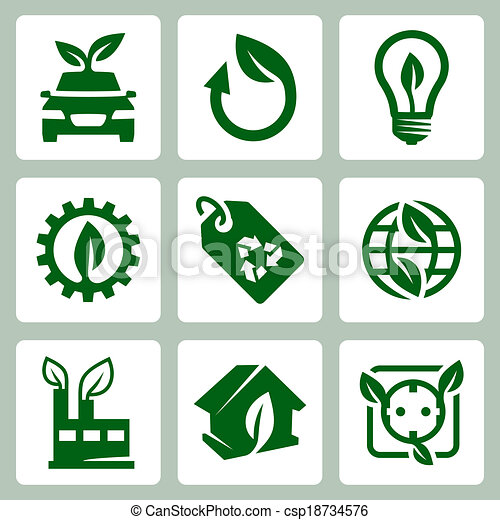 Vector ecology icons set - csp18734576
