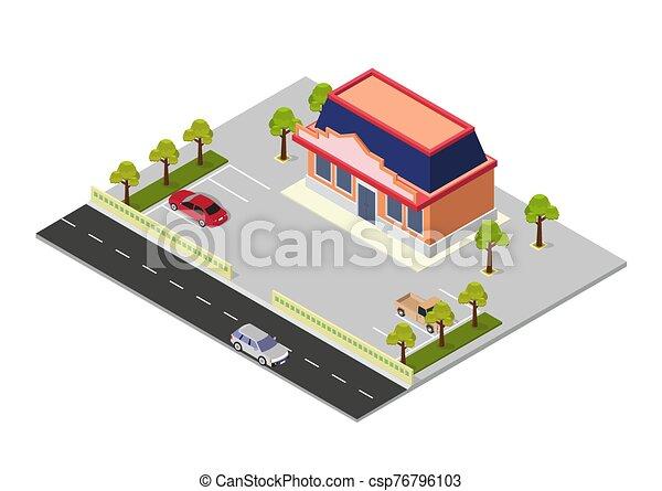 vector, edificio, centro comercial, isométrico - csp76796103
