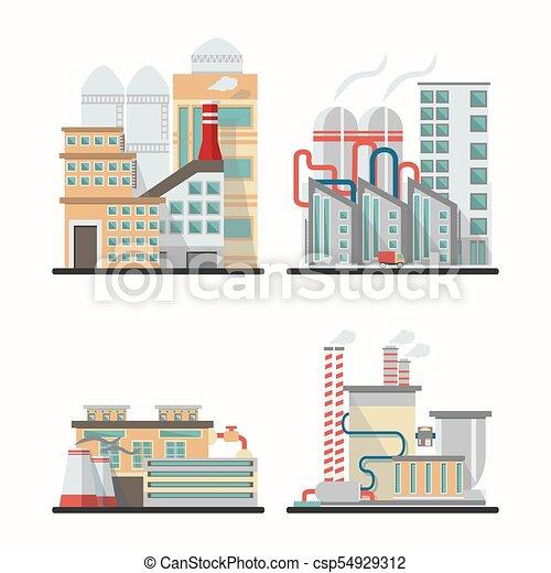 Edificios industriales en vector - csp54929312