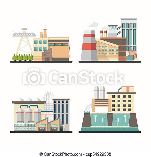 Edificios industriales en vector - csp54929308
