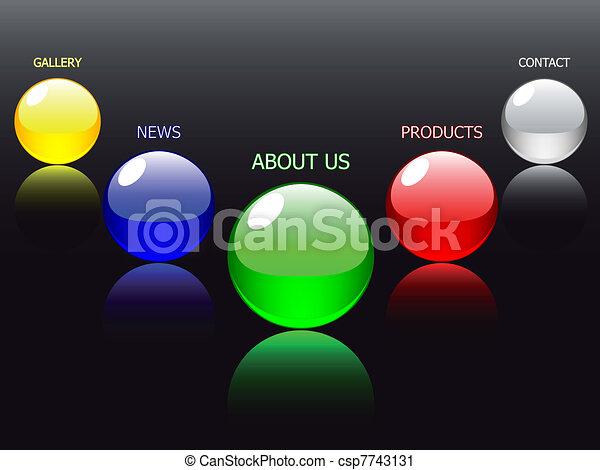Vector - editable website navigation template, glass ball - csp7743131