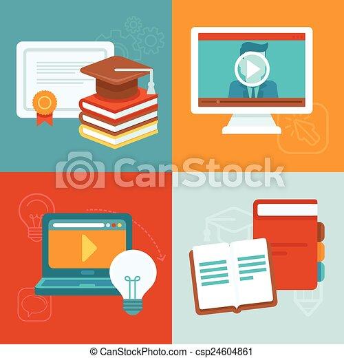 Conceptos de educación en línea Vector - csp24604861