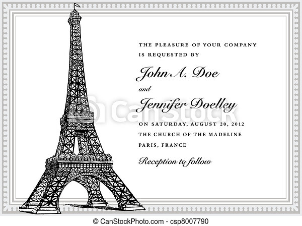 Vector Eiffel Tower Wedding Invitation - csp8007790