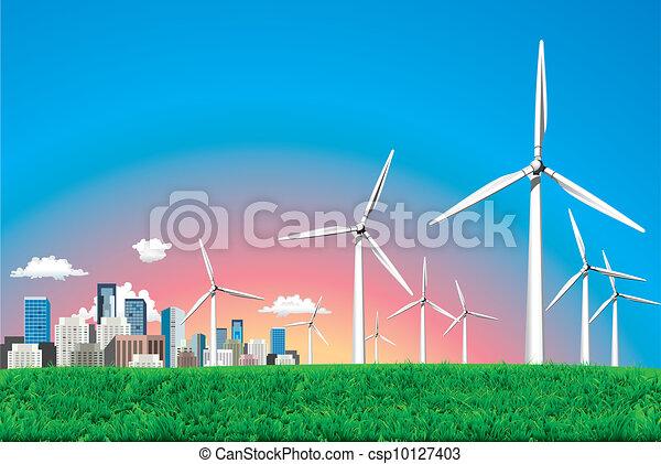 Vector. Electrical windmill over cityscape scene. - csp10127403