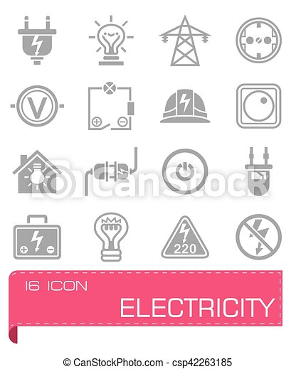 Vector Electricity icon set - csp42263185