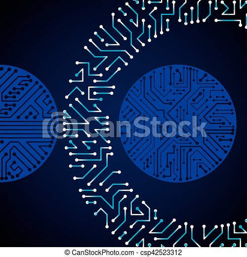 Vector electronic pattern with microchip scheme, luminescent circuit ...