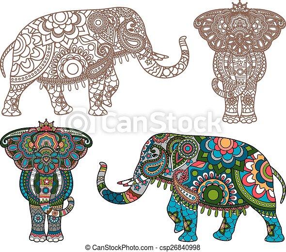 Vector, elefante indio. Silueta, indio, vector, elefante, adornado ...