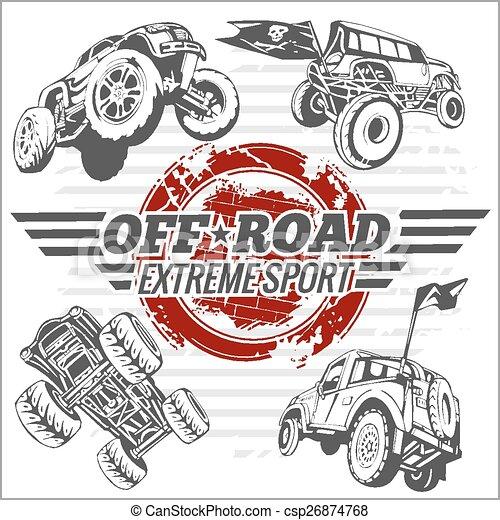 Vector emblem with off-road cars - csp26874768