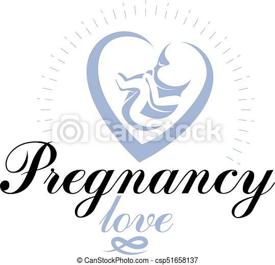 Vector embryo emblem. Pregnancy and mother care theme, new life idea drawing. Maternity ward abstract emblem - csp51658137