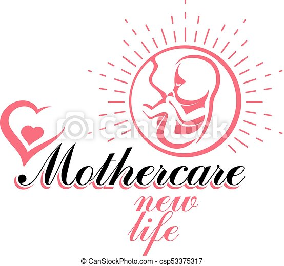 Vector embryo emblem. Pregnancy and mother care theme, new life idea drawing. Reproduction clinic conceptual logo - csp53375317