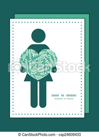 Vector Emerald Green Plants Woman In Love Silhouette Frame Pattern Invitation Greeting Card Template