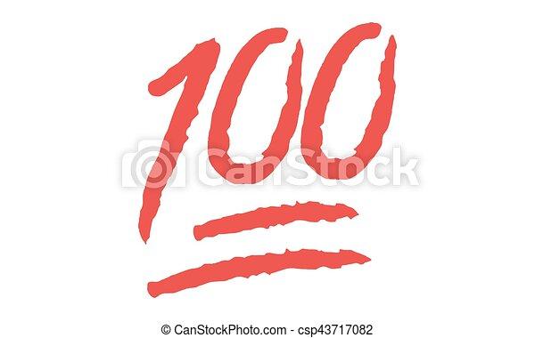 Vector Emoji 100 Hundred Points Symbol Vektor Hundert Punkte