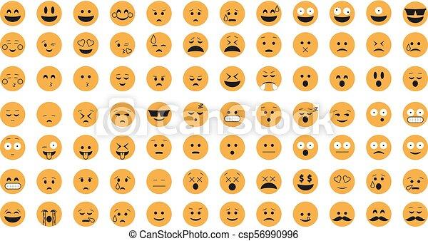 vector., emoticon, セット - csp56990996