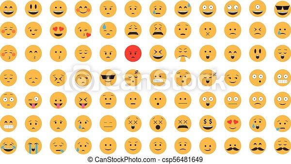 vector., emoticon, セット - csp56481649