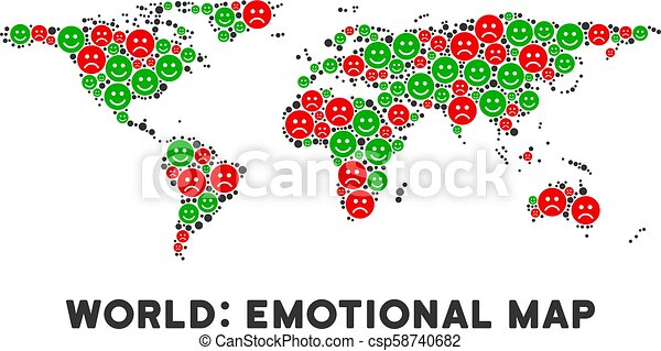 Vector Emotion World Map Composition of Smileys - csp58740682